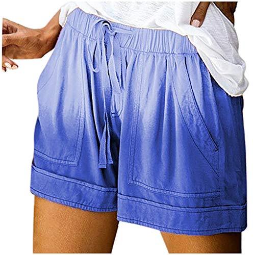 Nyuiuo Verano de Las Mujeres más el tamaño de impresión Tie-Dye Contraste de Color Empate Bolsillos elásticos Casual Pantalones Cortos Sueltos Pantalones Deportivos
