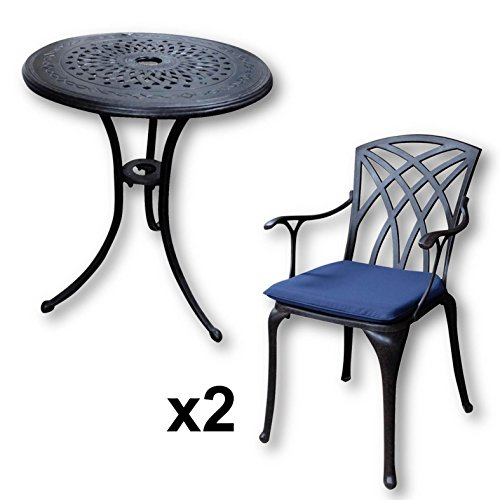 Lazy Susan Ella 60cm Round Garden Table in Antique Bronze with 2 April Chairs and 2 Blue seat pad cushions | Garden | Cast Aluminium | Rust Proof | Easy Assembly | Weatherproof | 12 Month Warranty