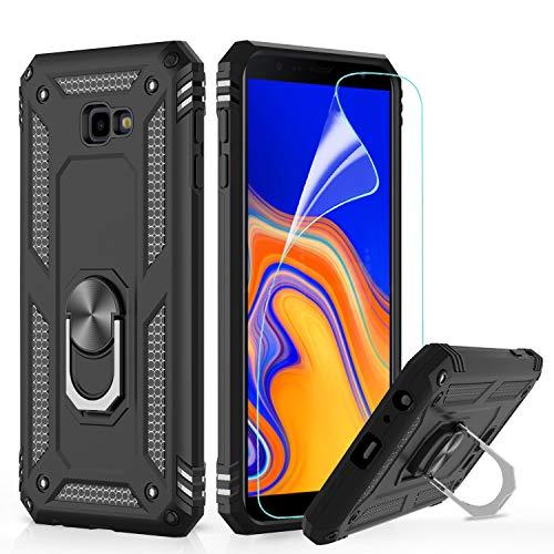 LeYi Custodia Galaxy J4 Plus Cover, 360° Girevole Regolabile Ring Armor Bumper TPU Case Magnetica Supporto Smartphone Silicone Custodie con HD Pellicola per Samsung Galaxy J4 Plus / J4+ Case Nero