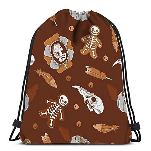 JDHFJ Kordelzugbeutel Drawstring Backpack Bags Sports Cinch Halloween Vintage Brooch Skulls Cookies Pumpkins and Feathers for School Gym