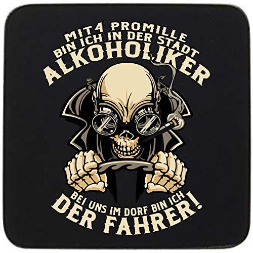 KMC Austria Design Untersetzer MDF/Kork - Bedruckt statt Gravur - 4er-Set - MDF-Platte 9,5cmx9,5cm - mit Korkrückseite zum Schutz - für Trinkfeste - Bei Uns im Dorf Bin ich der Fahrer!
