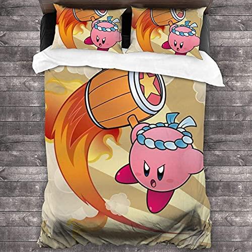 GSPAXL Kirby - Juego de funda de edredón y funda de almohada para niños y adolescentes, funda de edredón para estudiantes, funda de edredón suave y antialérgica (Kirby 1,220 x 240 cm + 80 x 80 cm x 2)
