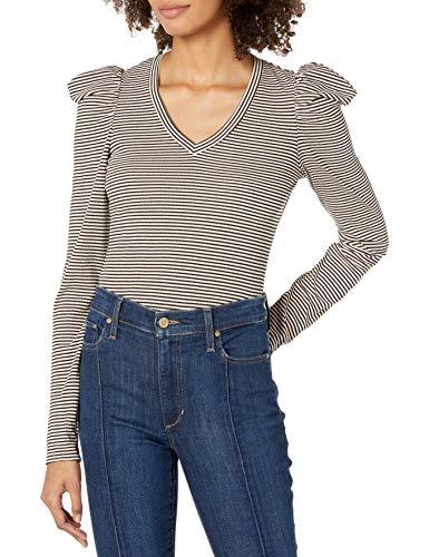 Ella Moss Women's Sandy Drape Long Sleeve Top, Cameo Rose Stripe, X Small