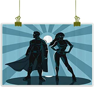 Art Prints and Posters Oil Paintings Canvas, Man and Woman Superheroes Costume with Masks and Capes Night Protector in Moonlight Home Decor Pictures - 16