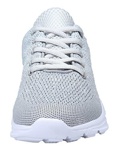 KOUDYEN Zapatillas Deportivas de Mujer Hombre Running Zapatos para Correr Gimnasio Calzado Unisex,XZ746-W-grey-EU43
