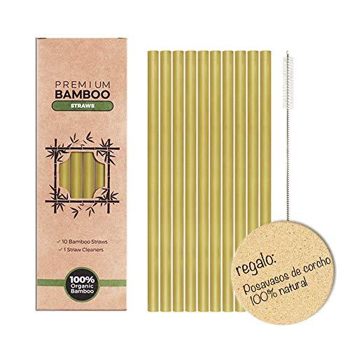 Vintree Pajitas de Bambú Pajitas Reutilizables Pack 10 Pajitas Biodegradables Pajitas Cócteles Pajitas Largas Incluye Cepillo de Limpieza y Caja de Embalaje Respetuoso con el Medio Ambiente 20 cm