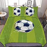 993 CCOVN Plants Duvet Cover Set Small Double Size, Cactus Life Turquoise Hues Short Long Chubby Slim Polka Dots Stripes, Decorative 3 Piece Bedding Set with 2 Pillow Shams, Turquoise and Multicolor
