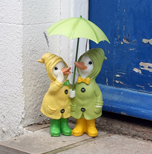 Dilly and Dally Puddle Ducks. Garden Ducks, garden ornaments, Pair of Ducks, 32cm high with detachable umbrellas, wearing Boots