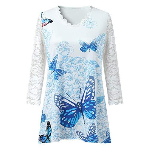 HeroHarold Túnica de encaje con cuello en V para mujer, manga 3/4, estilo casual, camiseta de manga 3/4, con diseño floral de mariposa, S-5XL