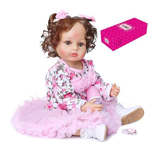 Sunbaca Bonecos Renascidos de 22 polegadas Silicone Corpo Inteiro Re sta Bebê Real Touch Boneca de Criança Pesada com Cabelo Castanho Enraizado à Mão Vestido de Tule Floral