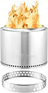 Solo Stove Bonfire Stainless Steel Wood Burning Smokeless Bonfire with Stand and Fire Pit Cover, Large 19.5 inch