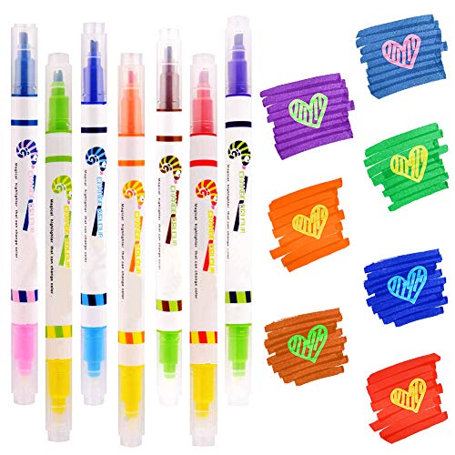 Magic Highlighter Marker Pens,7 Color Changing Highlight Pens,Dual Tip Chisel Tip Assorted Highlighter/Fluorescent Colors Rainbow Pens for Diary Cartoon DIY Note Taking Painting