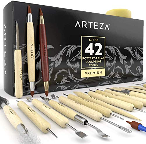 ARTEZA® Set de Herramientas de Esculpir Arcilla y modelar cerámica, para Profesionales o novatos, Materiales de Madera con Puntas de Acero Inoxidable Resistente, en Caja de cartón (Kit de 42)