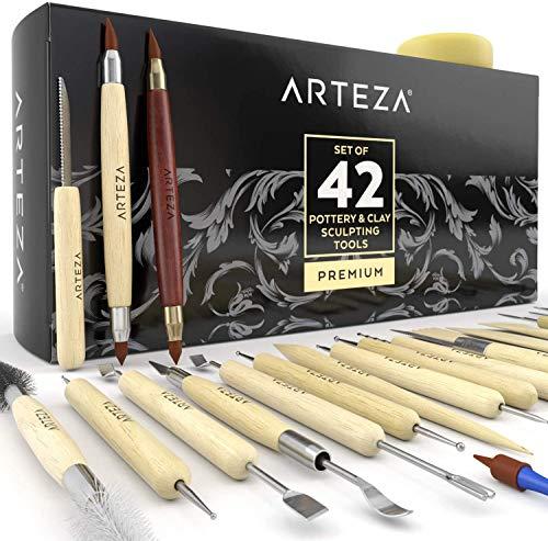 ARTEZA Set de Herramientas de Esculpir Arcilla y modelar cerámica, para Profesionales o novatos, Materiales de Madera con Puntas de Acero Inoxidable Resistente, en Caja de cartón (Kit de 42)