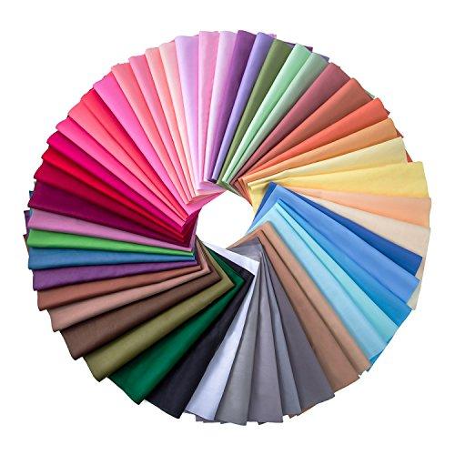 50 Piezas Tela de Multicolor Patchwork de Algodón Telas Cuadradas Mezcladas de Artesanía de Acolchado y Costura, 50 Colores (10 x 10 cm)