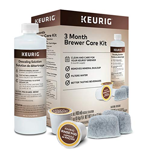 Keurig 3-Month Brewer Maintenance Kit Includes Descaling Solution, Water Filter Cartridges & Rinse Pods, Compatible Classic/1.0 & 2.0 K-Cup Coffee Makers, 7 Count