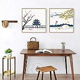 Original Chinesische Quadratische Bilder Tempel Ahorn Brücke Flagge Wandkunst Leinwand Malerei Für Wohnzimmer Küche Elegante Wohnkultur HD 60x80cmx2 Rahmenlos