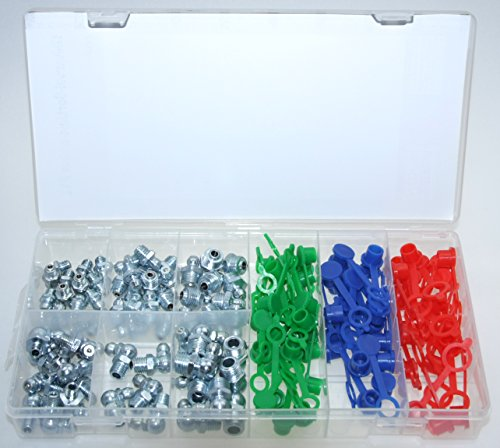 ALKAN Schmiernippel Kegelnippel inkl. Schutzkappen für Schmierpressen Größe M6 M8 M10 0° 90° Hydraulik Fettnippel (in der Aufbewahrungsbox/Sortimentsbox), 130-tlg.