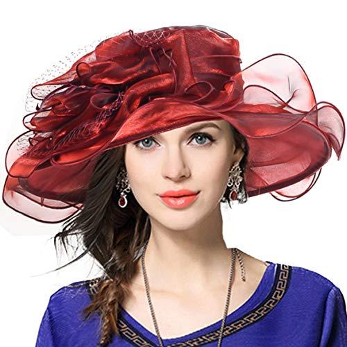 VECRY Mujeres Organza Church Derby Fascinator Sombrero Nupcial Boda Pamelas (019-Burdeos)
