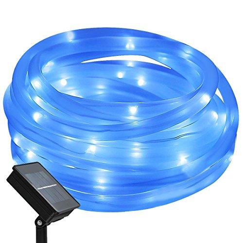 Tragbar Solar Lichtschlauch Lichterkette, 12m 100 LEDs, Wasserdicht IP65,Außenlichterkette, LED Lichterketten Für Hochzeit, Party und Weihnachten, Weihnachtsbeleuchtung, Blau
