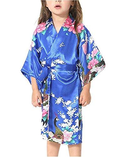 Minetom Peignoir Enfant Motif Exotique Paon Fleur Kimono Soie Cardigan Robe de Chambre Fille Satin Bleu 110