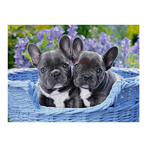 500 Piece Wooden Jigsaw Puzzle French Bulldog Puppies Jigsaw Puzzles Fun Game Toys Birthday Gifts (Without Frame)