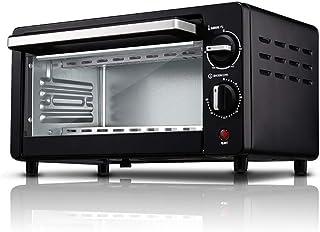 Mini horno de cocina, mini horno eléctrico y parrilla, mini horno negro y parrilla, horno multifunción, mini horno eléctrico, temporización de 60 minutos, capacidad de 10 litros, control de temperatu