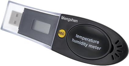 Mengshen Medidor de Temperatura y Humedad y Aire, Registrador de Datos USB con Pantalla LCD, Alarma incorporada, M163