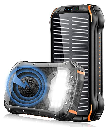 Y&W Solar Charger Portable Wireless Power Bank 26800Mah, Camping Charger with 18 LED 3 USB Output Ports 4 Lighting Modes, External Backup Battery for Earthquake, Disaster
