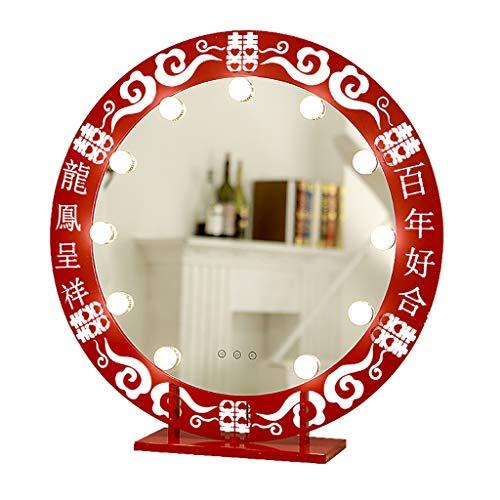 FENGHUANG Specchio con Lampadine A LED, Specchio da Tavolo Circolare, Struttura in Metallo (Rosso, Bianco, Dimensioni: 30 Cm * 52 Cm)