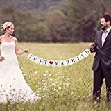 Vintage Just Married Banner Wedding Bunting Photo Booth Props Signs Garland Bridal Shower Decoration, White