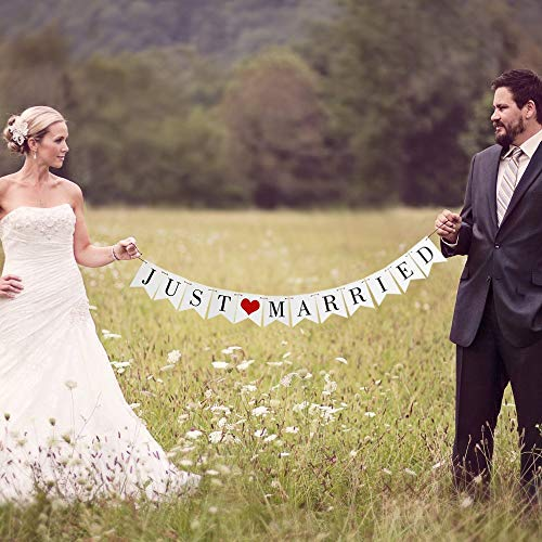 Vintage Just Married Banner Wedding Bunting Photo Booth Props Signs Garland Bridal Shower Decoration  White