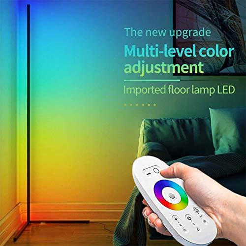 Lámpara De Pie De Esquina RGB,Lámpara De Sala De Juegos Lámpara De Pie Alta Con Control Remoto LED Regulable Que Cambia De Color Junto A La Cama Luz De Noche De Atmósfera Minimalista Moderna