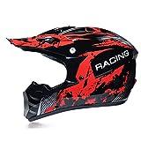 Motocross Casillo para Adultos Casco Integral con Gafas/Guantes/Máscara, Motocicleta Offroad Enduro Enduro Downhill ATV BMX MTB Casco Casco,S