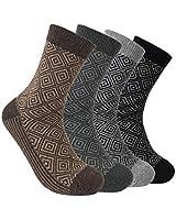 4 Pairs Mens Wool Cotton Blend Thermal Socks,Mens Autumn Winter Wool Socks,Soft Comfortable Thin Warm Socks,Moisture Wicking,Breathable,Black,Grey,Brown,UK6-10 EUR39-42