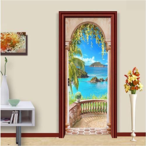 ZPCR Photo Wallpaper 3D Roman Column Seaside Landscape Mural Wall Door Sticker Living Room Home Decor Creative DIY PVC Wall Paper 3D