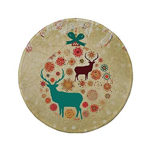 Rutschfreies Gummi-rundes Mauspad Weihnachtsdekorationen Rentiere und Schneeflocken in abstrakten Kugeln Ornament Vintage Papier Kunst Bild Beige 7,9 'x 7,9' x3MM