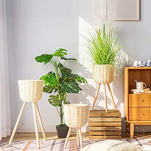 Juego de 3 soportes para plantas modernas para interiores y exteriores con patas de madera,soporte para macetero de ratán hecho a mano,soporte para unidad de exhibición de flores con maceta d