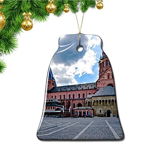 Hqiyaols Ornament Deutschland Mainzer Dom Weihnachten Ornamente Bell Form Keramik Souvenir Stadt Reise Geschenk Baum Tür Fenster Decke Zierschmuck Deko