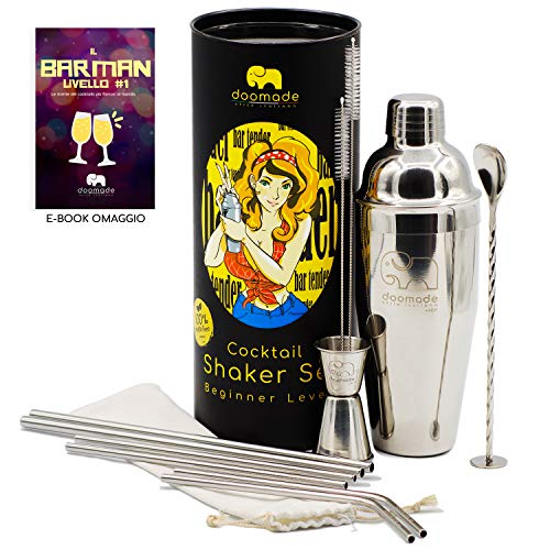 doomade Shaker Cocktail Set - Barman Kit con Cobbler 720ml, Jigger, Mixing Spoon, Cannucce e Ricette. Regalo Donna Uomo|Kit Acciaio di qualità Premium