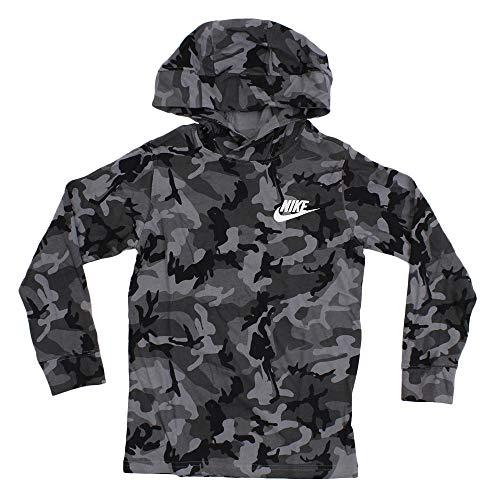 Nike Boys B NSW Hoodie Po JSY AOP Grey Hoodie S (939641-065), 10 Years-11 Years