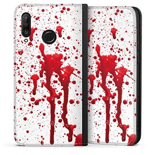 DeinDesign Klapphülle kompatibel mit Huawei P30 Lite Flip Case Handyhülle aus Leder schwarz Blut Halloween Gothic
