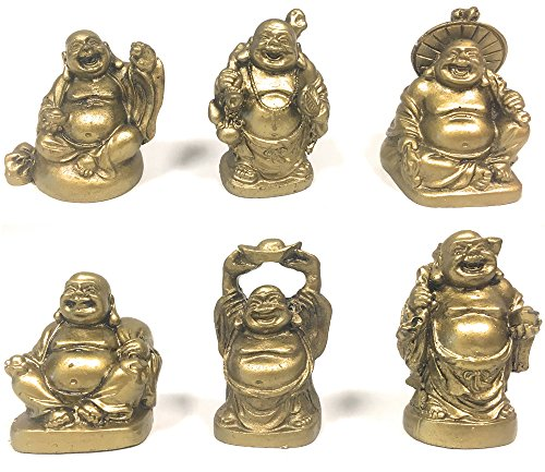 Amlong Crystal Laughing Buddha Figurine 2 inch Statue, 6 Piece Set, Gold