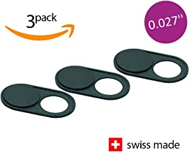 Soomz Slim Webcam Cover, Ultra-Thin, Laptop, PC, MacBook, iPhone, iMac, iPad, Smartphone, Protect Your Privacy & Security, Sliding Cover – Black Metal – Good Grip & Strong Adhesive – Premium Quality