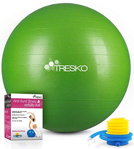 TRESKO® Ballon de Gymnastique   Anti-éclatement   Boule d'assise   Balle de Yoga   Balles d'exercices Fitness   300 kg   avec Pompe à air   Verte   65cm