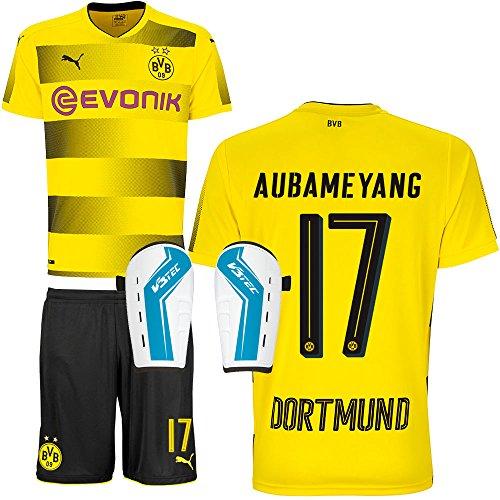 FanSport24 BVB Borussia Dortmund Set bestehend aus Heimtrikot Heimhose Saison 2017 2018 und Schienbeinschoner Farbe Aubameyang, Größe XXXL