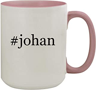 #johan - 15oz Hashtag Colored Inner & Handle Ceramic Coffee Mug, Pink