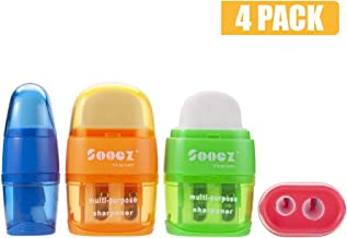 Sooez 2-in-1 Manual Pencil Sharpener & Eraser, Double Holes for different sized Colored Pencils, Compact Size Cute Plastic Metal Hnadheld Sharpener for Adults, Kids, Blue Orange Green Pink, 4 Pack