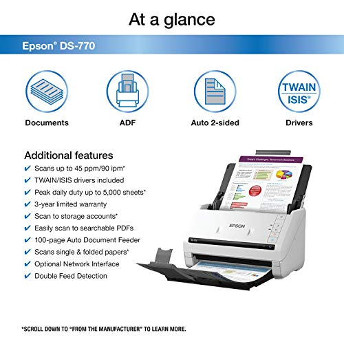 Epson DS-770 Document Scanner: 45 ppm, Twain & ISIS Drivers, 3-Year Warranty with Next Business Day Replacement Photo #4