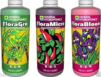 General Hydroponics GH Flora Series 32oz Quarts Trio FloraMicro FloraGrow FloraBloom